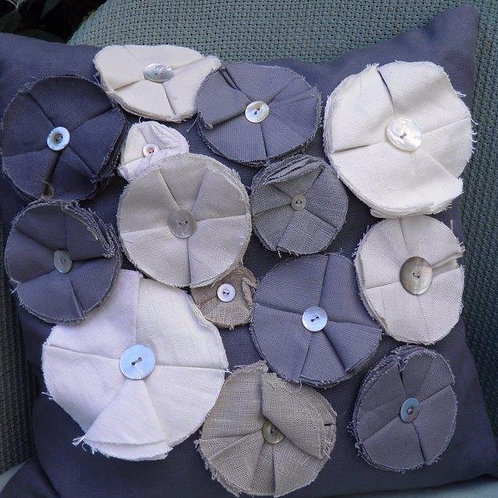 Multiple Flowers Linen  Cushion 39x39cm