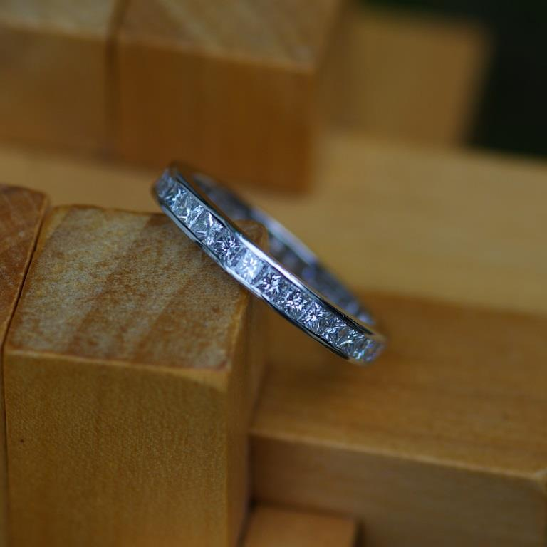 Platinum & Dia. Channel Set Ring