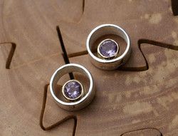 Circle & Dot Earrings with Amethysts