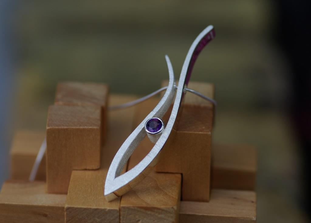 Long Grasses Pendant with Amethyst