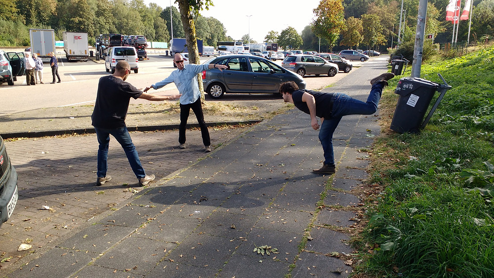 Here's the lads pissing about with Tai Chi at a German service station to celebrate!