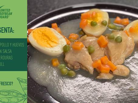 Muslos de Pollo y huevo cocido en salsa de papa