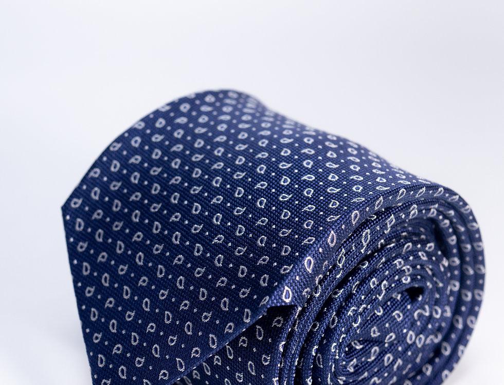 Cravatta in seta micro fantasia blu 7cm