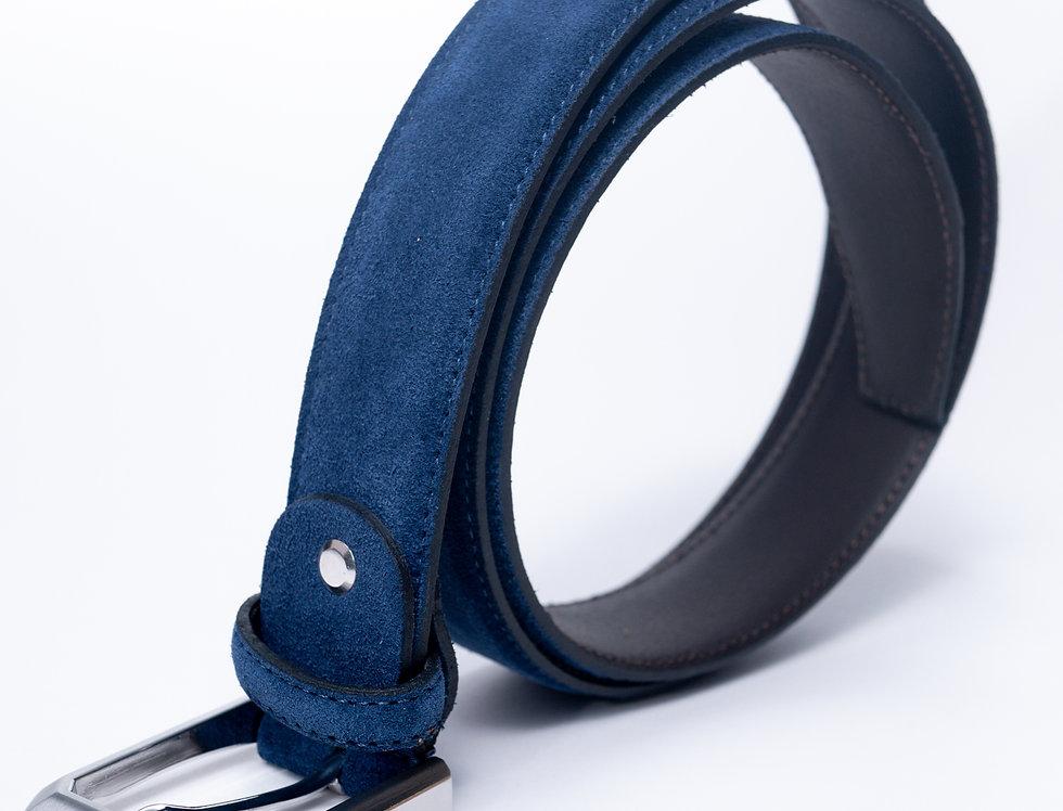 Cintura in camoscio blu made in Italy