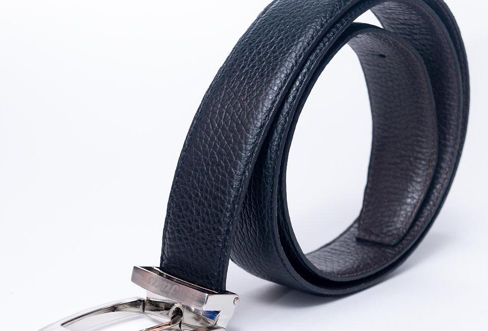 Cintura double in cervo nera/ moro made in Italy