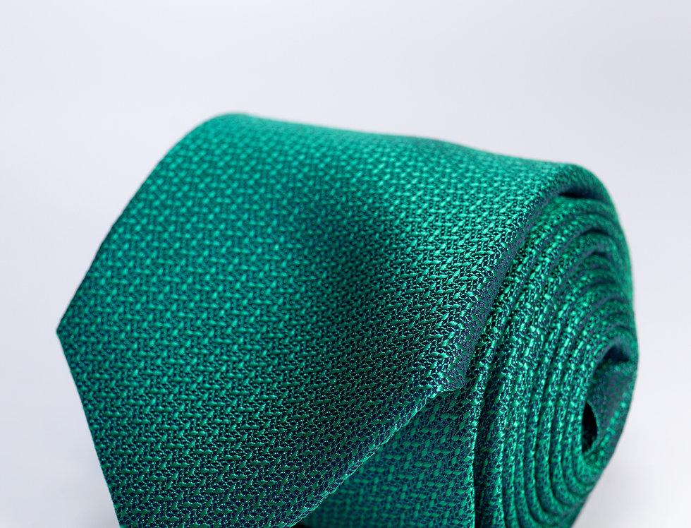 Cravatta in seta falso unito verde 7cm