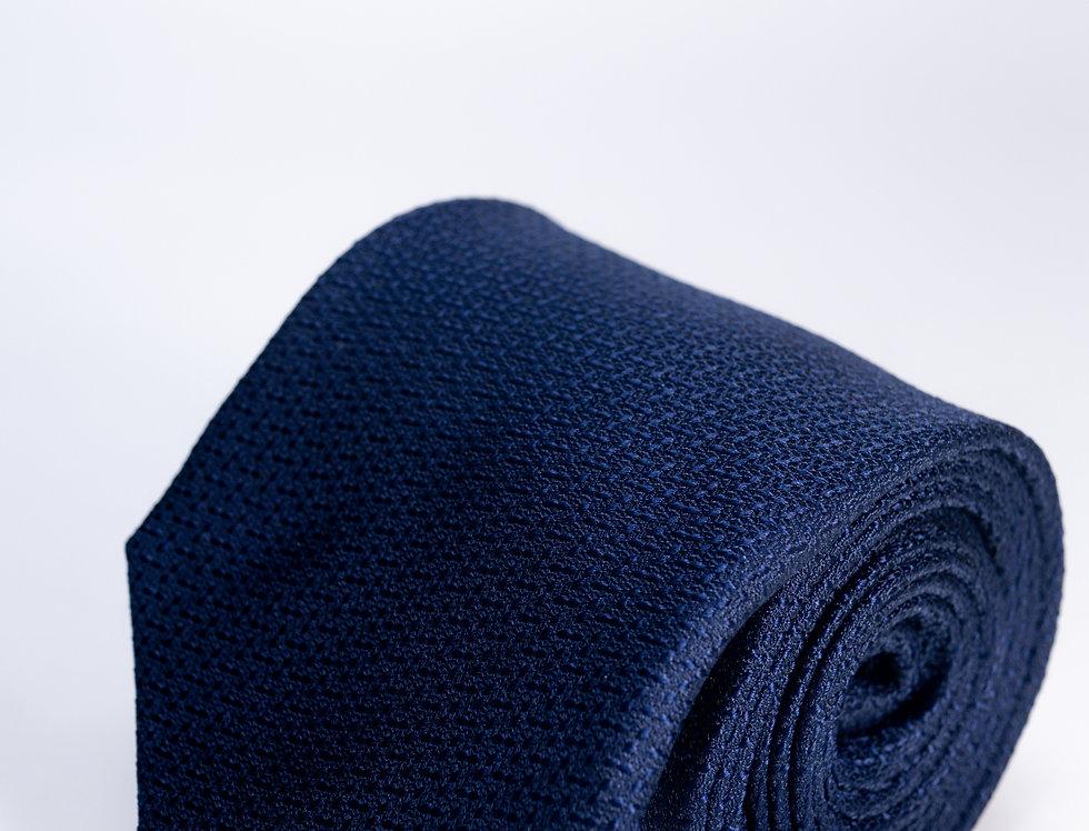 Cravatta in seta falso unito blu 7cm
