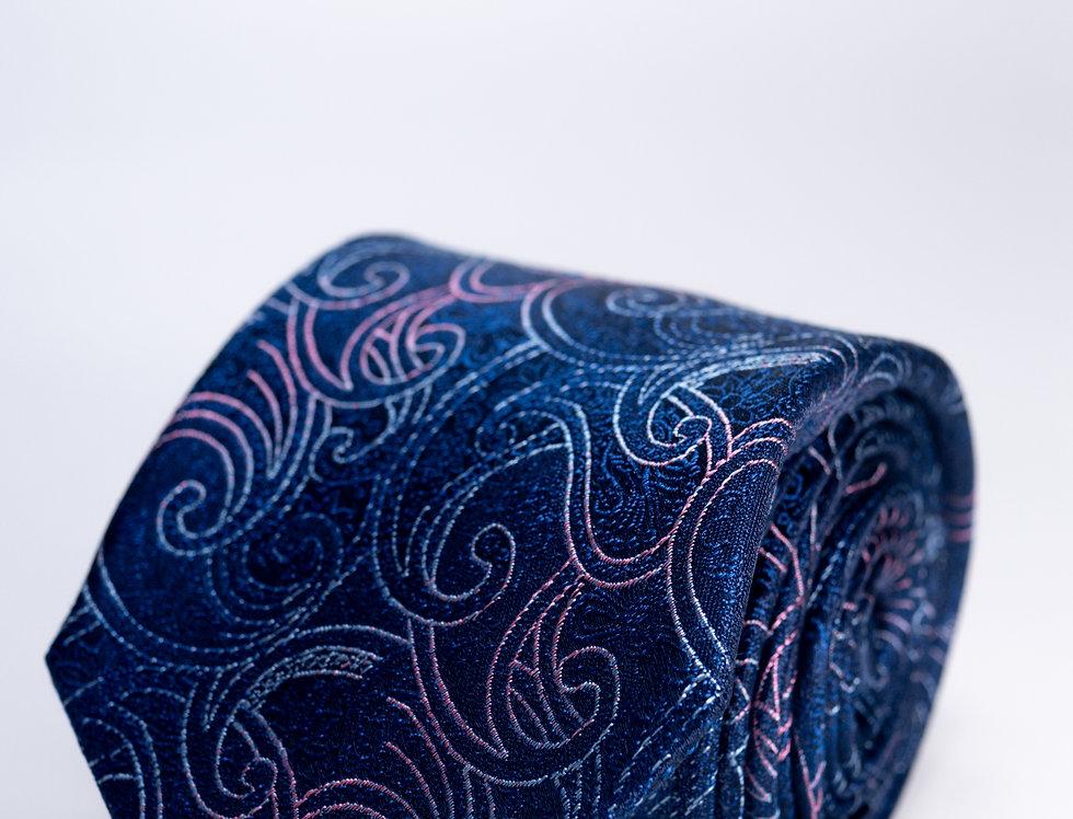 Cravatta in seta cerimonia fantasia blu 7cm