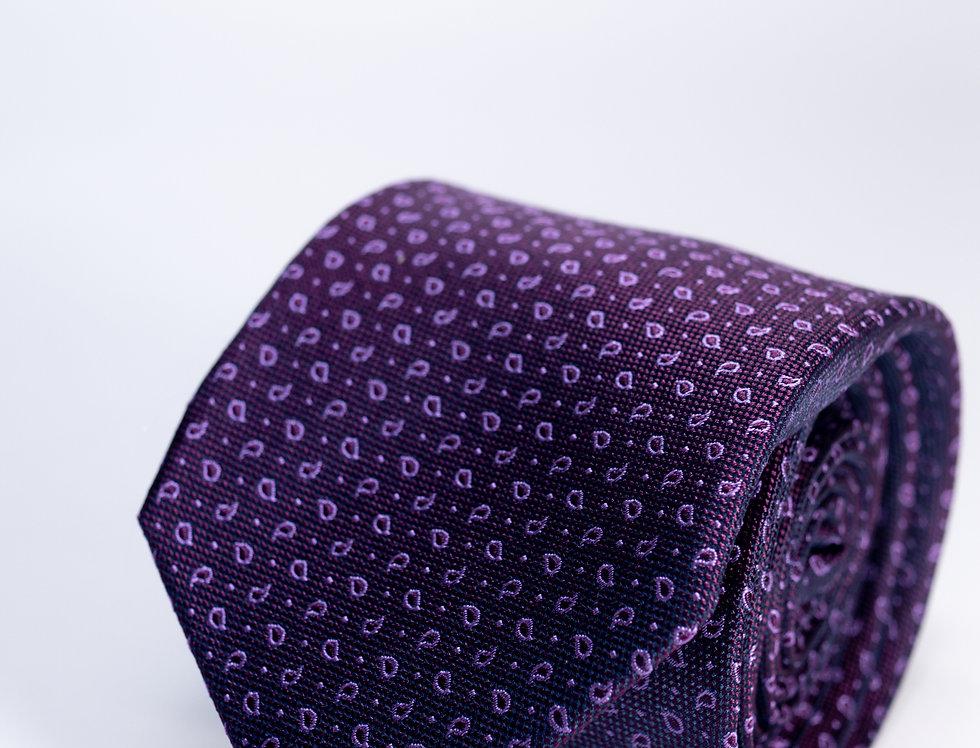 Cravatta in seta fantasia viola 7cm