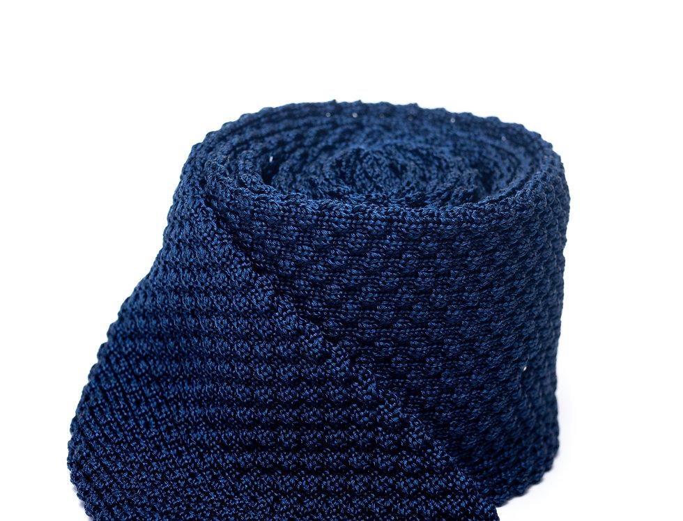 Cravatta in maglia struttura blu