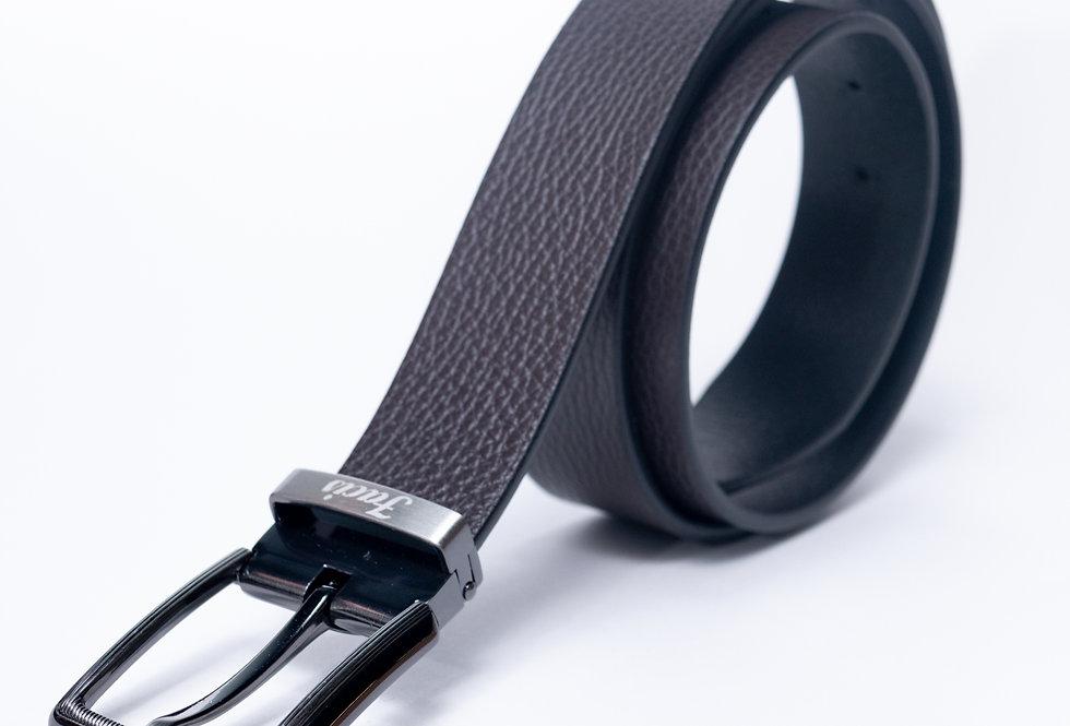Cintura in vitello double nera/ moro made in Italy