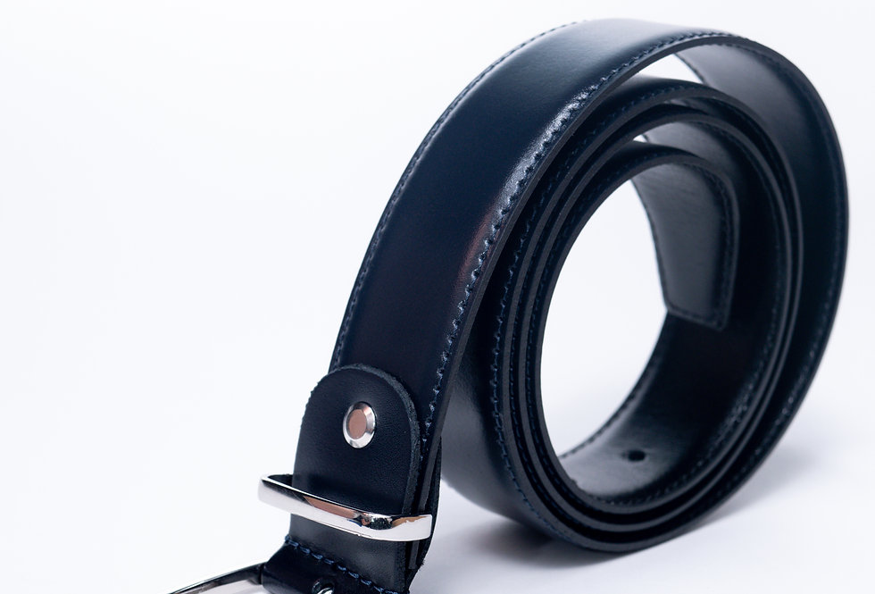 Cintura in vitello blu made in Italy