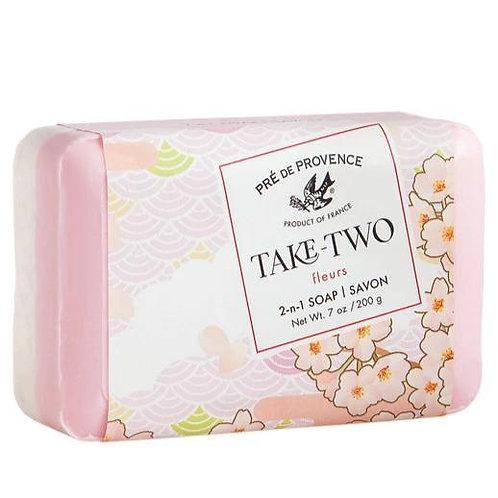 pre de provence take-two fleurs 2-in-1 soap
