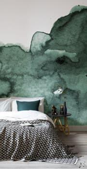 Schlafzimmer grün Fototapete Wandgestalotung Aquarell