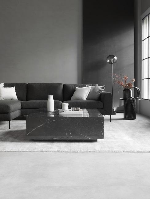 Wohnzimmer modern schwarz Marmor edel