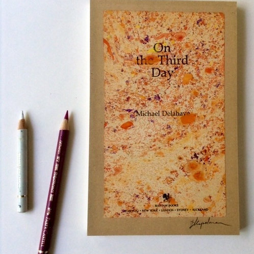 Blank memo pad. on the cover an original hand painted vintage paper