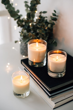 Cozy home interior decor, burning candle