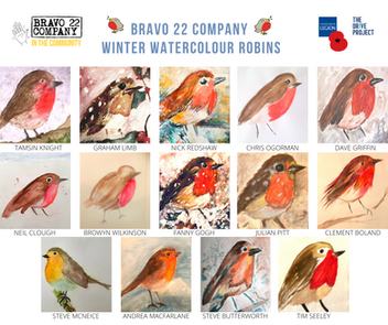 WINTER WATERCOLOUR ROBINS with FANNY GOGH