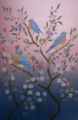 EASTERN BLUEBIRDS IN BLOSSOM