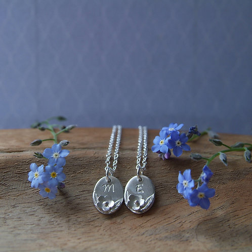Personalised Floral Necklace   Initial Pendant