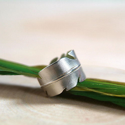silver feather ring, handmade silver jewellery, nature ring