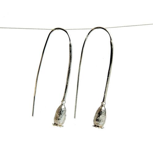 Long silver earrings Poppy Pod