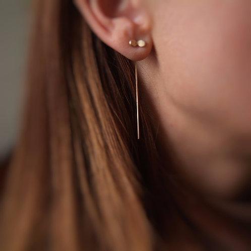 Gold wire stem earrings