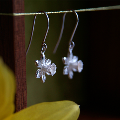 Daffodil Earrings with a Narcissus Flower Display