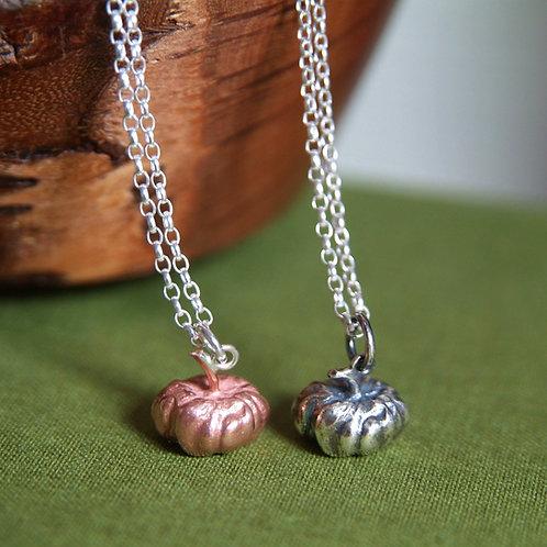 Halloween Pumpkin Necklace Copper Silver