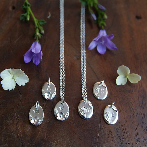 Personalised Floral Necklace | Initial Pendant