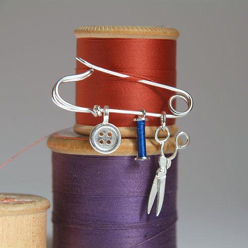 Sewing Charms Brooch Bobbin Display