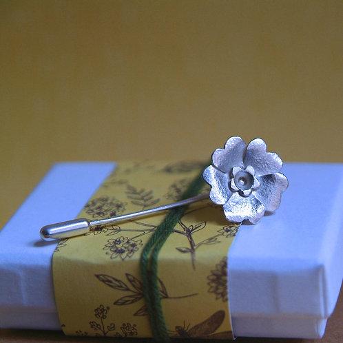 silver primrose brooch pin
