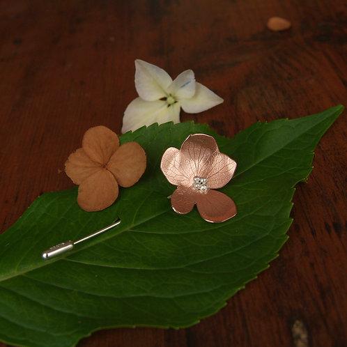 Hydrangea Copper Flower Brooch