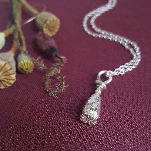 Silver Poppy Pod Pendant