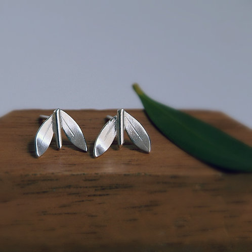 Leaf Earrings on Wood