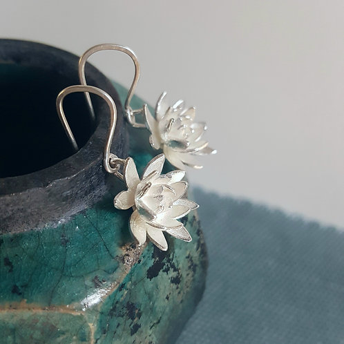 Lotus Earrings Silver Flower Jewellery