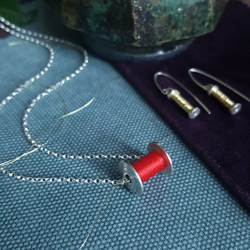 Ladies Sewing Bobbin Necklace