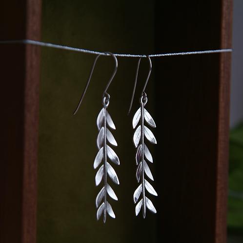 Silver Leaf Earrings - Long Drop Earrings
