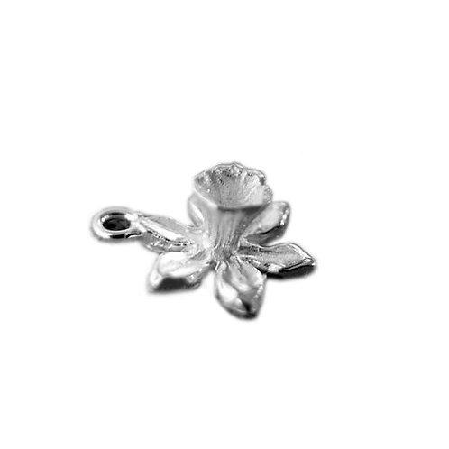 Silver Daffodil Flower Charm