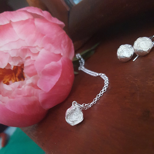 peony flower and necklace