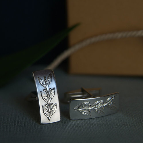 Mens Silver Cufflinks Leaf Design
