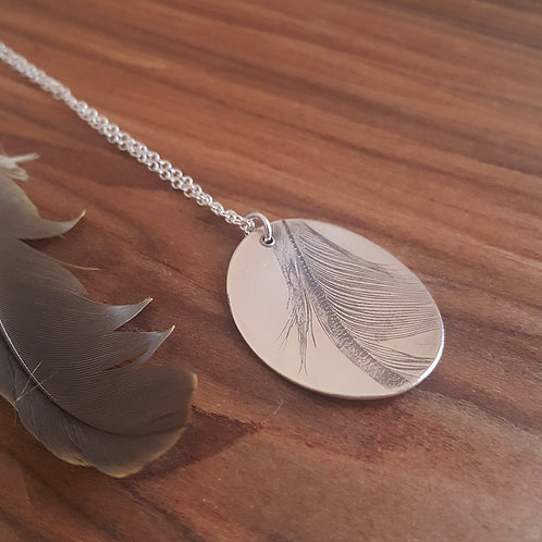 Feather Imprint Necklace - Duck Feather on Silver
