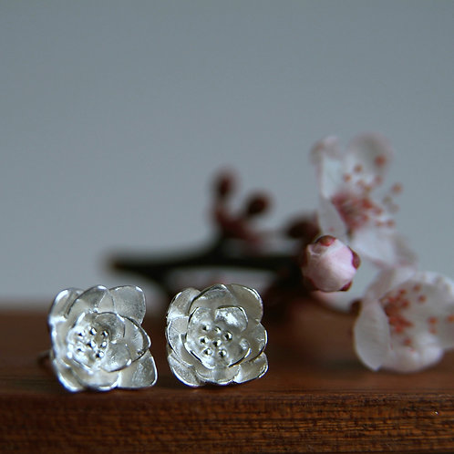 Silver Flower Earrings with a Cherry Blossom Flower
