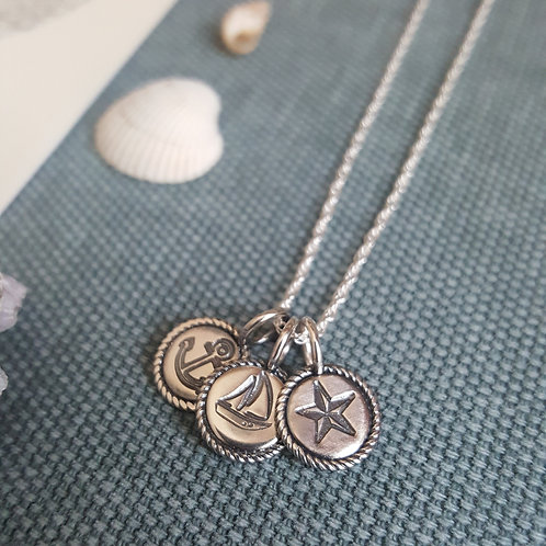 Handmade Silver Nautical Charm Necklace