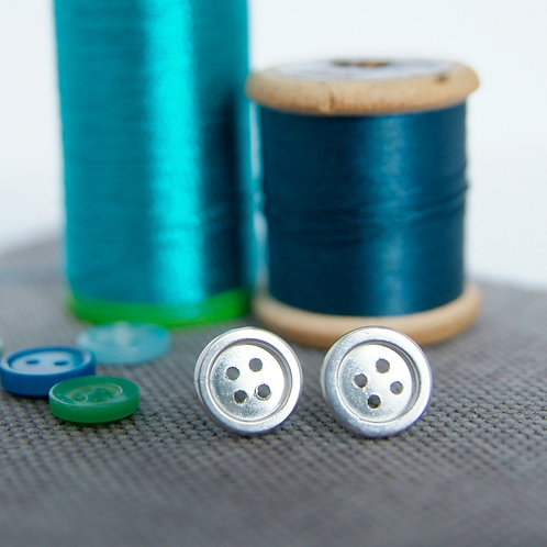 Silver Button Earrings, Vintage Cotton Reel and Button Display