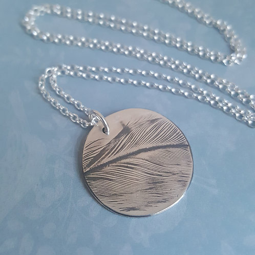 Duck Feather Silver Pendant