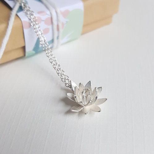 Lotus Flower Necklace Sterling Silver Jewellery