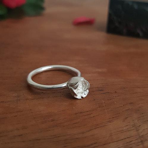 Silver Rosebud Ring