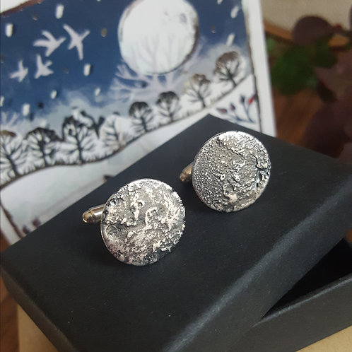 Sterling Silver Moon Cufflinks