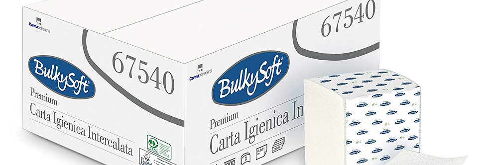 "Carta Igienica Interfogliata a ""V"" Pura Cellulosa Bulky Soft 9000Pz"